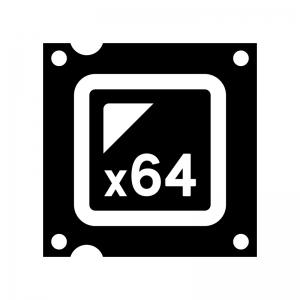 CPU(x64)の白黒シルエットイラスト