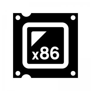 CPU(x86)の白黒シルエットイラスト