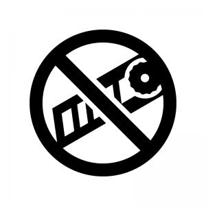 カッターの使用禁止の白黒シルエットイラスト
