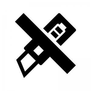 カッターの使用禁止の白黒シルエットイラスト02
