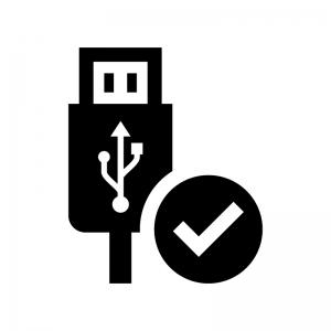 USB接続の白黒シルエットイラスト