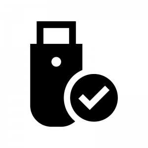 USB接続の白黒シルエットイラスト02