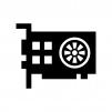 グラフィックボードの白黒シルエットイラスト03