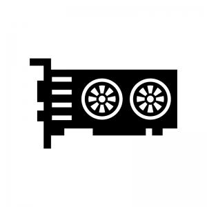 グラフィックボードの白黒シルエットイラスト04