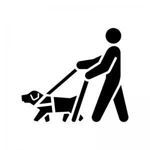 盲導犬・介助犬の白黒シルエットイラスト02