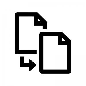 ファイル・書類のコピーの白黒シルエットイラスト02