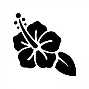 ハイビスカスのシルエット 無料のaipng白黒シルエットイラスト
