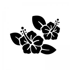 ハイビスカスの白黒シルエットイラスト02