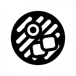 麺類の白黒シルエットイラスト