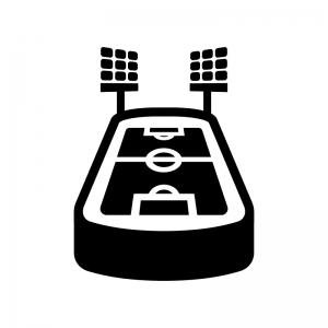 サッカースタジアムの白黒シルエットイラスト