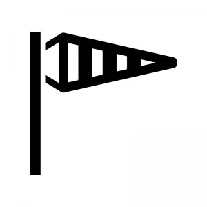 吹き流しの白黒シルエットイラスト02