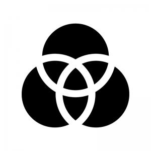 ベン図の白黒シルエットイラスト02