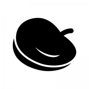 ベレー帽の白黒シルエットイラスト
