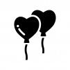 ハートの風船の白黒シルエットイラスト02