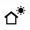 日当たり良好の白黒シルエットイラスト
