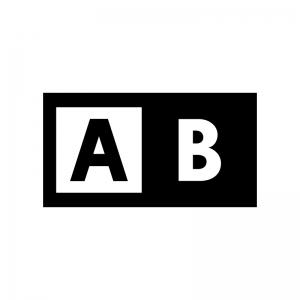 比較・ABテストの白黒シルエットイラスト