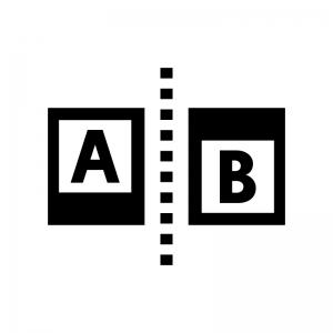 比較・ABテストの白黒シルエットイラスト02