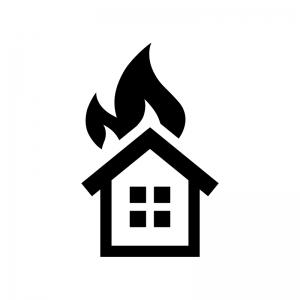 家の火災の白黒シルエットイラスト