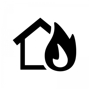 家の火災の白黒シルエットイラスト02