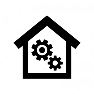 住宅メンテナンスの白黒シルエットイラスト