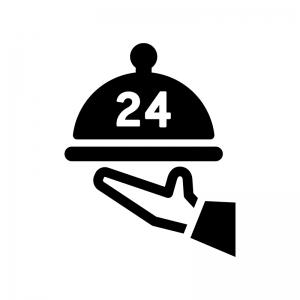 24時間対応のルームサービスの白黒シルエットイラスト