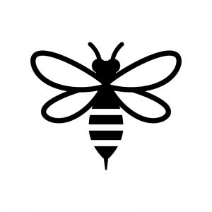 蜂の白黒シルエットイラスト03