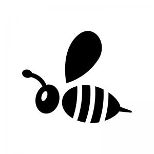 蜂の白黒シルエットイラスト04