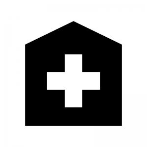 病院の白黒シルエットイラスト06