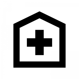 病院の白黒シルエットイラスト07