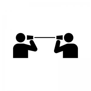 糸電話で会話の白黒シルエットイラスト