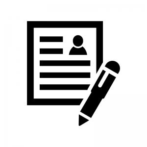 履歴書の白黒シルエットイラスト02