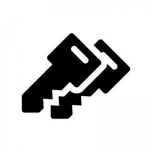 二重鍵の白黒シルエットイラスト