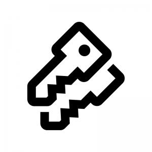 二重鍵の白黒シルエットイラスト02