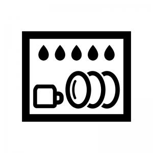 食器洗浄機の白黒シルエットイラスト