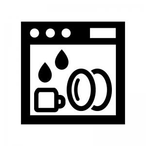 食器洗浄機の白黒シルエットイラスト02