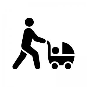子育ての白黒シルエットイラスト