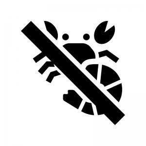 甲殻類NGの白黒シルエットイラスト