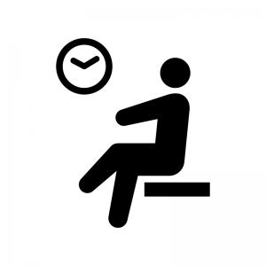 休憩所・待合室の白黒シルエットイラスト02