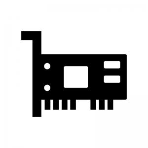 ネットワークカードの白黒シルエットイラスト