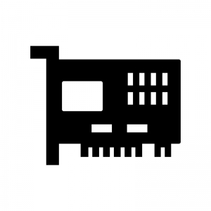 ネットワークカードの白黒シルエットイラスト02