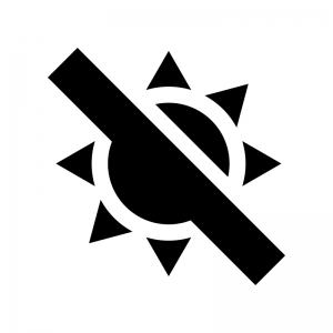 直射日光注意の白黒シルエットイラスト