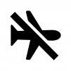 機内モードOFFの白黒シルエットイラスト
