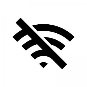 Wi-Fiのエラーの白黒シルエットイラスト