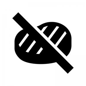 肉類NGの白黒シルエットイラスト