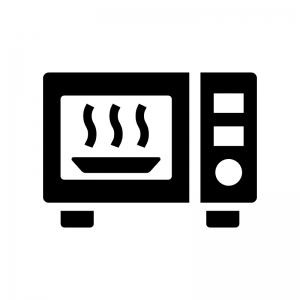 電子レンジで温めの白黒シルエットイラスト02