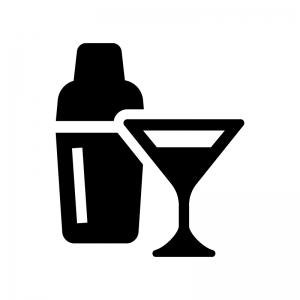 カクテルの白黒シルエットイラスト02