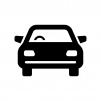 正面から見た自動車の白黒シルエットイラスト06