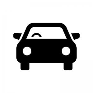 正面から見た自動車の白黒シルエットイラスト07