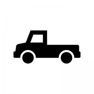 ピックアップトラックの白黒シルエットイラスト