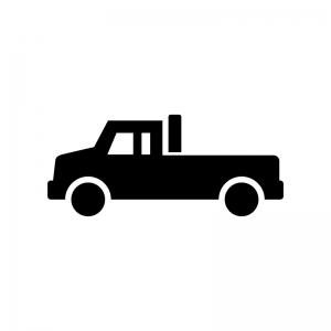 ピックアップトラックの白黒シルエットイラスト02